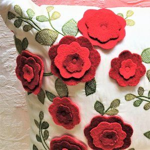 Host Pick! LAYERED FELT, EMBROIDERY Flowers PILLOW